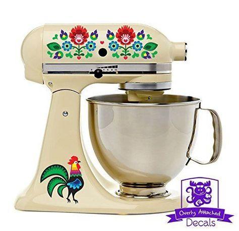 Dutch Folk Art Rooster and Flowers Kitchen Stand Mixer Appliance Decal Vinyl Set #OverlyAttachedDecals