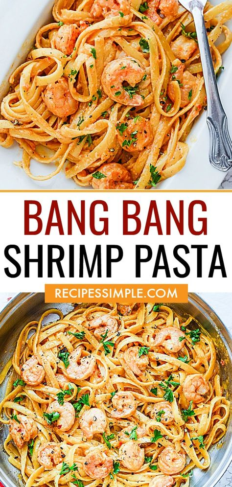 Toss together this delicious Bang Bang Shrimp Pasta for the creamiest pasta dish with a little bit of heat and tasty tangy goodness! Best Picture For Food Book photography For Your Taste You are looki Best Pasta Dishes, Creamy Pasta Dishes, Shrimp Dishes, Healthy Pasta Dishes, Fish Recipes, Seafood Recipes, Dinner Recipes, Cooking Recipes, Easy Shrimp Pasta Recipes