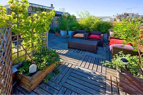 Dachbegrunung Intensiv Holzfliesen Balkon Terrasse Paletten Mobel