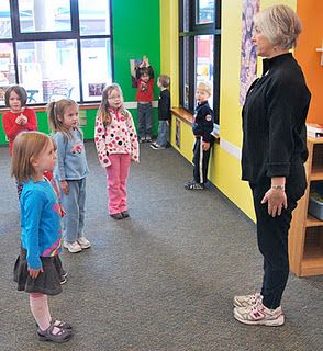 Dance in the classroom -- following direction, integrating the 'stop' action within movement play + games.