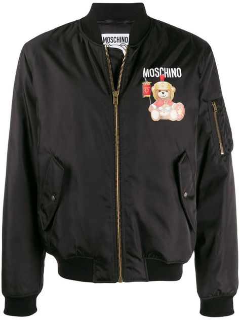 Mens Logo Teddy Bomber Jacket Black