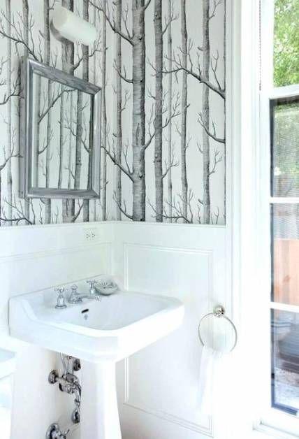 Birch Wood Wallpaper Powder Rooms 27 Ideas Powder Room Wallpaper Birch Tree Wallpaper Birches Wallpaper