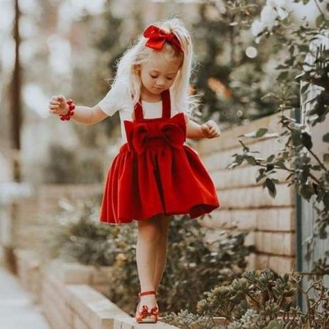 a42f8fe82ade4 Little Girls Darling Red Pinafore With Front Bow