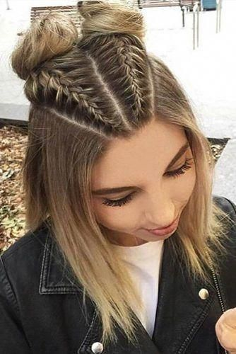 Braided Hairstyles For Short Hair Brown Balayage Blonde Double High Buns Braids In 2020 Braids For Short Hair Stylish Hair Short Hair Updo