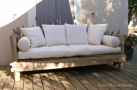 Canapé en bois flotté 1 - 2300 € Longueur 210 cm - Hauteur ...