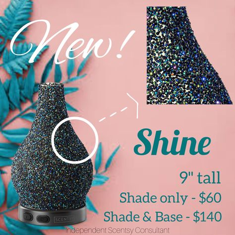 Bedazzled in green, blue and black rhinestones for a fantastical, mermaid-inspired color scheme, this eye-catching diffuser was simply born to Shine! #scentsy #shine #diffuser #essentialoils #decor #sparkle #rhinestone #mermaid #fragrance