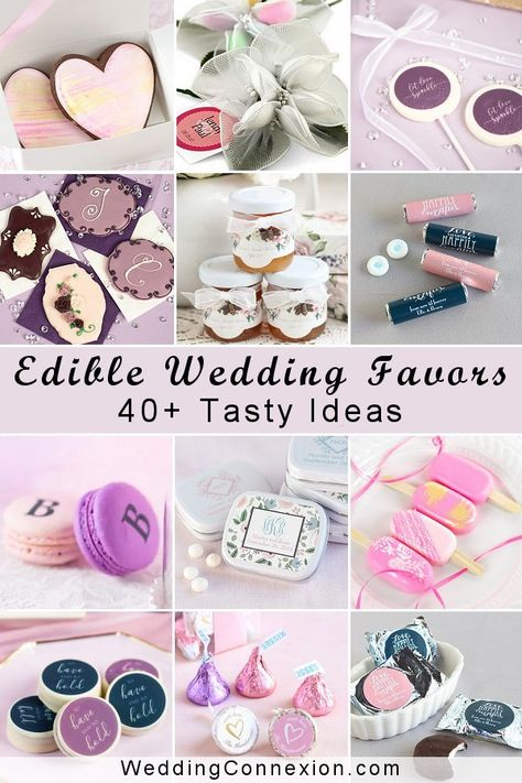 Get inspired with our compilation of 40+ tasty edible wedding favors available on the market. We grouped them by categories such as candy, mints, lollipops, caramel, and chocolate to make it easier to find a delectable favor that is perfectly suitable to your taste and wedding theme   WeddingConnexion.com  #40+EdibleWeddingFavors #EdibleWeddingFavorCompilation #EdibleFavorsBest