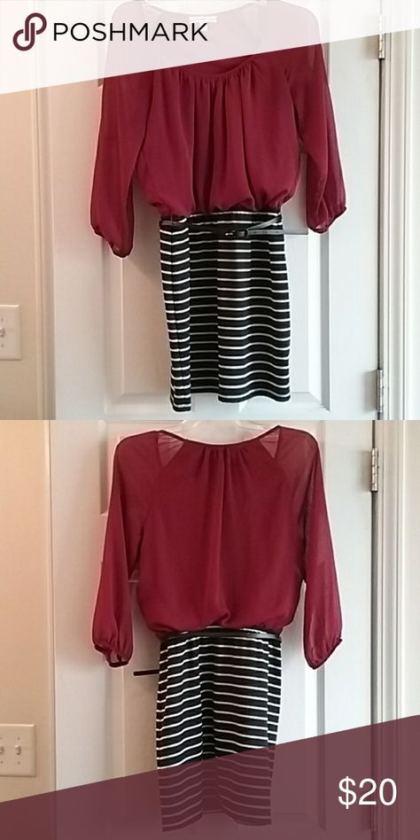EUC Womens burgundy & black dress size S EUC This womens burgundy and black long sleeve dress is a size small. The top is made of a sheer but lined fabric and the bottom has a thicker cotton feel. It has no rips or stains and comes from a smoke and pet free home.  Made of: Polyester and spandex blend Measurements are: 33 inches from shoulder to bottom, 17 inches from armpit to armpit, and 20 inch sleeve length. Accidentally In Love Dresses Midi