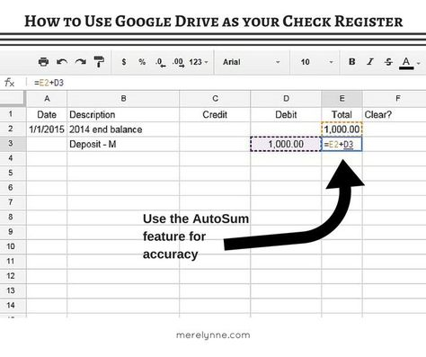 how to use google drive for your check register budget google