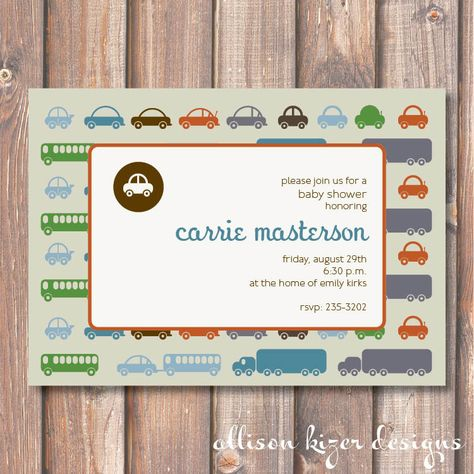 transportation shower invite- cute graphics and layout