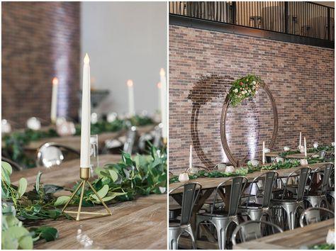 Wooden round floral arch, Industrial Edison bulb chandelier and farmhouse tables   The Foundry   Utah Wedding Venue   Shout-out Saturday   Jessie and Dallin Photography #thefoundry #utahweddingvendors #utahweddingvenue #utahweddings #utahwedding #utahbride #utahbrideandgroom #ldsweddings #ldstemplewedding #ldsbride #indoorweddingvenue #rockymountainbride #utahbrideandgroom