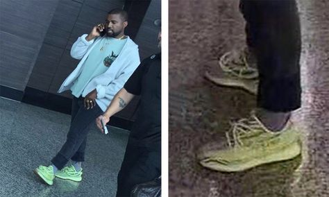 "607942c20 Kanye West Wears the ""Semi-Frozen Yellow"" adidas Yeezy Boost 350 V2 in China"