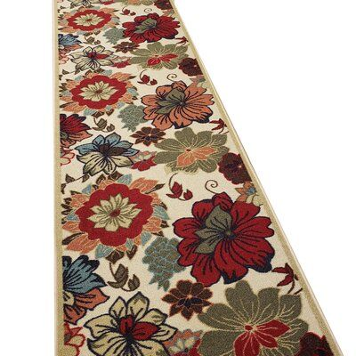 Andover Mills Beauchamp Square Floral Red Green Tan Area Rug Rugs Rug Runner Carpet Runner