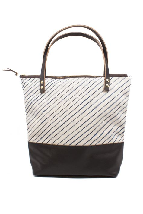 Indigo Stripe Zipper Tote
