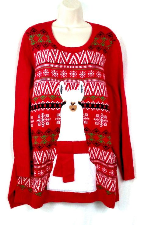 Details About Holiday Time Ugly Christmas Sweater Santa Lights Long