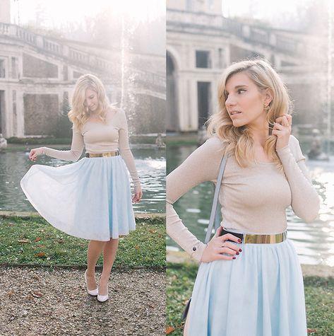 6c734488a4 Cristina Siccardi - Modcloth Light Blue Tulle Skirt, H&M Platinum Metallic  Top, Zara Cream Heels, Tally Weijl Metallic Belt - Winter Cindarella