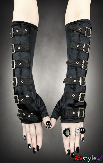 One of a kind Gothic arm warmers gloves with buckles from one of a kind gothic brand in the World. Check out our unique clothes, accessories and more shipped worldwide! Punk Rock Outfits, Gothic Outfits, Edgy Outfits, Mode Outfits, Hipster Outfits, School Outfits, Emo Mode, Punk Mode, Emo Fashion
