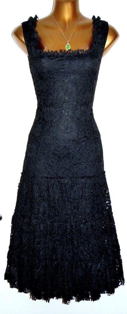 Stunning Joseph Ribkoff Black Lace Ruched Fit Flare Midi Dress Uk 16 Us 14 Fashion Clothing Shoes Accessories W Midi Dresses Uk Dresses Halterneck Dress