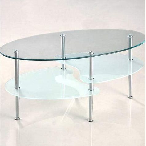 Oval Glass Coffee Table With Chrome Metal Legs Oval Glass Coffee
