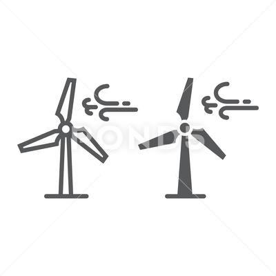 Wind Turbine Line And Glyph Icon Ecology Energy Stock Illustration Ad Line Glyph Wind Turbine Glyph Icon Glyphs Wind Turbine