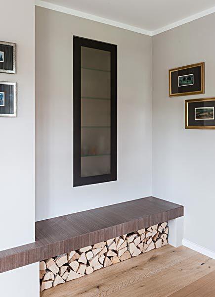 Bank am Kaminofen mit Sichtholz Kaminofen Pinterest - moderne holzdecken wohnzimmer