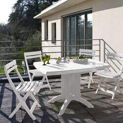 Salon De Jardin Table Vega 118 Cm 4 Chaises Miami Pliantes Blanc Oogarden In 2020