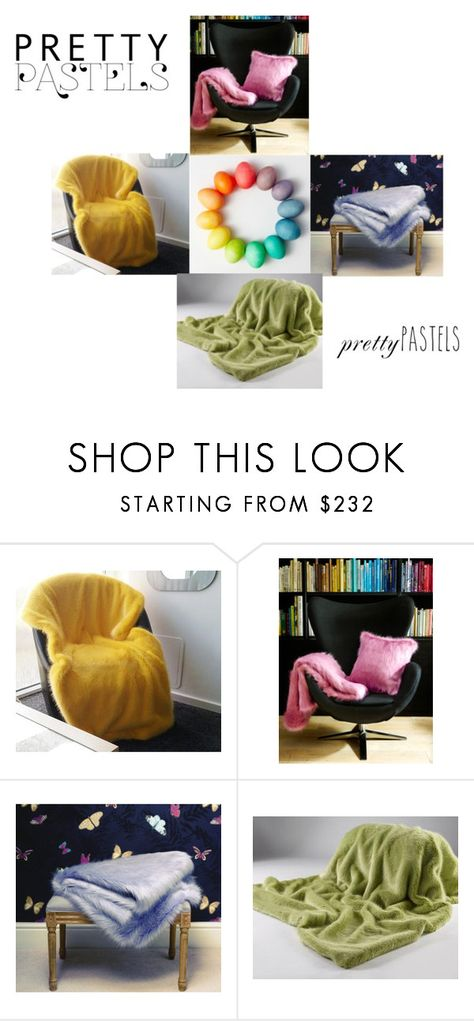 """Pretty Pastels"" by fauxfurthrows ❤ liked on Polyvore featuring interior, interiors, interior design, home, home decor and interior decorating"