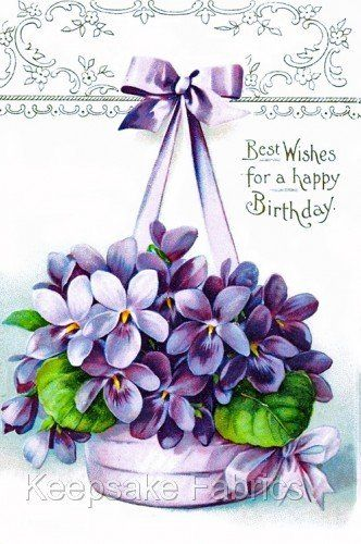 Birthday Greetings Violets Fabric Block (K4