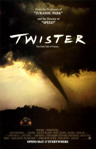 Twister.  - Type in white at the top of the page. - Written as if it had been done in crayon. - Dark colours.  - Image of the twister itself.