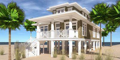 Plan 44145td Four Bedroom Beach Retreat In 2020 Beach House Flooring Modern Beach House Beach House Interior