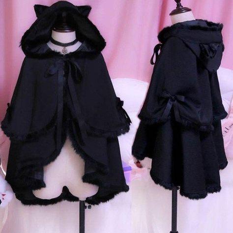 Kawaii Dark Night Winter Warm Fluffy Black Bat sleeve Coat Cloak SD01743