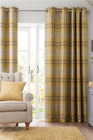 Buy Astley Check Eyelet Lined Curtains From The Next Uk Online Shop Yellow Curtains Living Room Yellow Curtains Living Room Grey