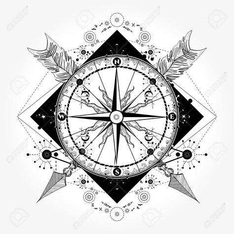 Compass tattoo and t-shirt design. Compass and crossed arrows tattoo art. Symbol of tourism, adventure, travel. Rose compass t-shirt design. Tattoo for travelers, climbers, hikers Stock Vector - 84742411