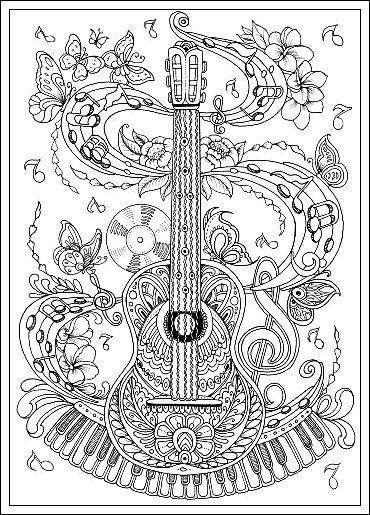 Gitarre Ausmalbilder Erwachsene Kostenlose Erwachsenen