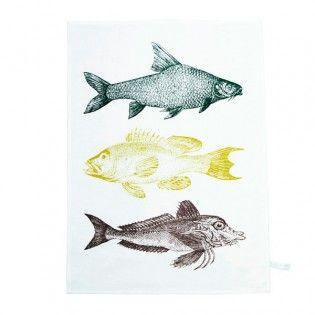 Geschirrtuch aus Halbleinen - Fische trio