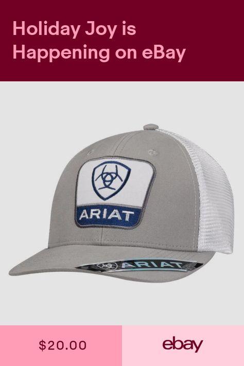 ddaeb399ac309 Ariat Mens Baseball Hat Cap Snapback Indian Skull Gray Black Mesh Back  1500406