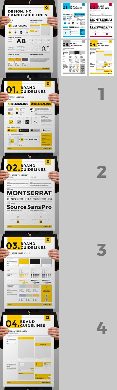 Bundle of Brand Manual and Identity Poster Templates INDD, EPS - manual templates
