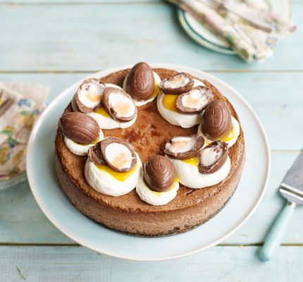 What's better than a chocolate cheesecake? A double chocolate Easter egg cheesecake with a crunchy bourbon biscuit base and topped with creme eggs