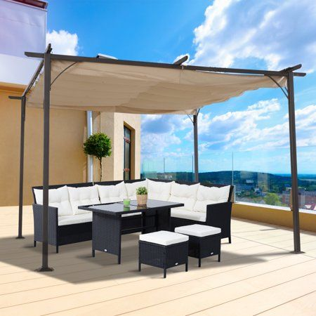 Outsunny 11 5 Retractable Canopy Cover Steel Frame Classic Pergola Gazebo Walmart Com Pergola Patio Backyard Porch