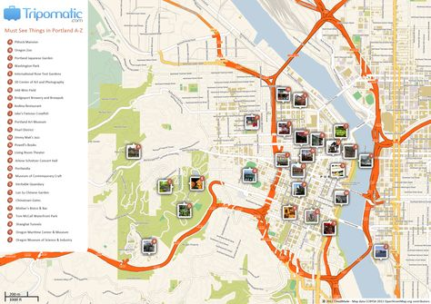 Portland Printable Tourist Map | Usa travel map, Portland ...