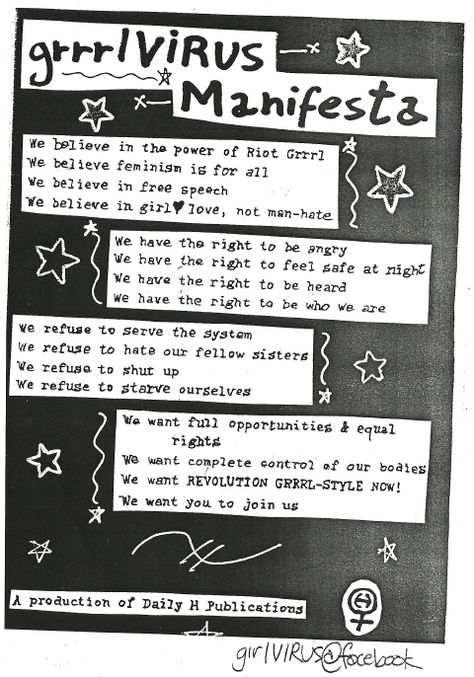 this is what a riot grrrl believes                                                                                                                                                                                 More