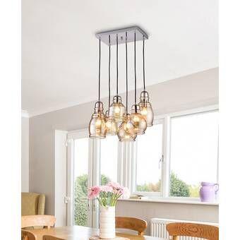 Manon 8 Light Cluster Bell Pendant Dining Room Light Fixtures Family Room Lighting Bell Pendant