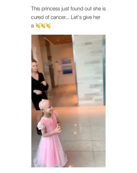 A little girl has just found out that she had been cured of cancer - Amen to that everyone