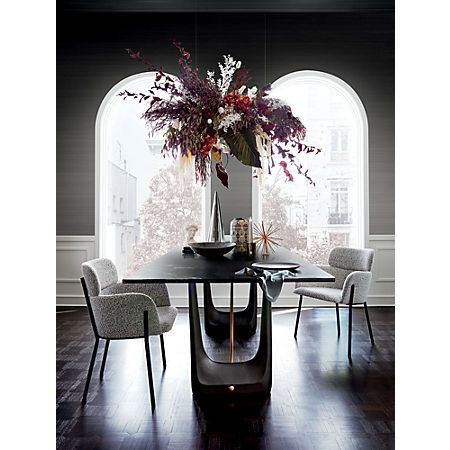 Rocco Rectangular Marble Dining Table Reviews Cb2 Dining Table Marble Marble Dining Black And White Vase