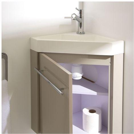 Meuble lave-mains d\'angle couleur daim avec mitigeur eau ...
