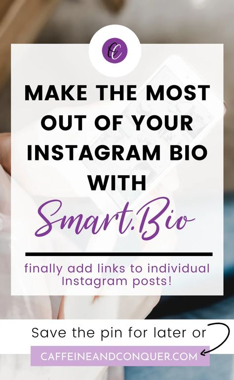 Instagram Tip // Smart.Bio is a solution for your Instagram bio and captions. With this free tool, add multiple links in your Instagram bio and link to individual posts. For businesses, marketing experts and influencers, this Instagram hack will make it easier for you to convert your followers into leads. Sign-up and find out how the tool affects your analytics | Caffeine and Conquer | Living Your Best Life | Online Entrepreneurship #instagram #bio #followers #marketing #business #caffeineandcon