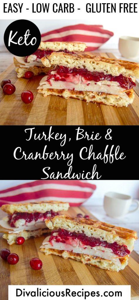 Turkey Brie Cranberry Chaffle Sandwich