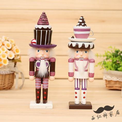 Dessert Hat Nutcracker For Girls Home Decoration Christmas Gift Birthday Gift 2 Pieces Height 25cm(China (Mainland))