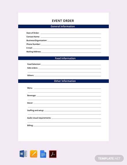 Free Uniform Order Form | Brochure | Order form template