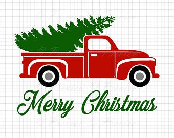 Buy 2 Get 1 Free Digital Clipart Christmas Tree Truck Monogram Red Old Classic Car Vintag Christmas Tree Truck Diy Christmas Canvas Christmas Tree Template